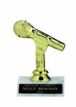 MICROPHONE TROPHY, 5 INCH, WHITE MARBLE BASE