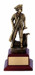 9-1/2 INCH MINUTEMAN TROPHY, ELECTROPLATED IN ANTIQUE BRASS