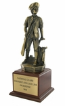 16 INCH MINUTEMAN TROPHY, ELECTROPLATED IN ANTIQUE BRASS