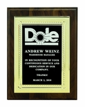 8 X 10 INCH PLAQUE WITH EMBOSSED SCREENED BLACK PLATE