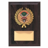 5 X 7 INCH SIMULATED WALNUT PLAQUE WITH GOLD PLATE, PLASTIC WREATH TAKES INSERT