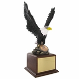 17 INCH EAGLE TROPHY, HAND PAINTED, HOLDS 2 INCH INSERT