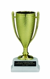 GOLD CUP TROPHY, 6-1/2 INCH, WHITE MARBLE BASE