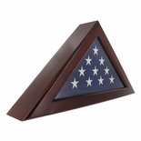 QUEEN ANNE CHERRY WOOD FLAG CASE, HOLDS 3 X 5 INCH FLAG