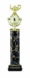 16, 17, 18 INCH BLACK AND GOLD ONE COLUMN TROPHY, TAKES FIGURE