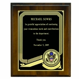 8 X 10 INCH WALNUT FINISH PLAQUE, BLACK PLATE, TAKES 2 INCH INSERT
