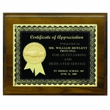 8 X 10 INCH GENUINE WALNUT PLAQUE, BLACK PLATE, 2 INCH INSERT