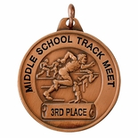 1-1/2 INCH TRACK GENERAL MALE  MEDAL FOR IMPRINT, BRONZE
