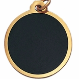 1-1/4 INCH ROUND BLACK SCREENED MEDAL FOR ENGRAVING