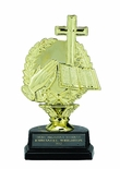 RELIGIOUS CROSS TROPHY, 6-1/2 INCH, BLACK MARBLE BASE
