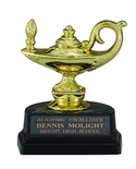 4-1/4 INCH BLACK AND GOLD TROPHY, LAMP OF LEARNING