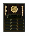 9 X 12 PERPETUAL WALNUT PLAQUE WITH 12 BLACK PLATES, TAKES 2 INCH MEDALLION INSERT