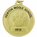 1-1/2 INCH PAW PRINT MEDAL FOR IMPRINT, GOLD