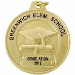 1-1/2 INCH GRADUATION MEDAL FOR IMPRINT, GOLD