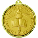 2-1/4 INCH IN HONOR OF ACADEMIC EXCELLENCE MEDAL, MULTIPLE COLORS