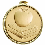 2-1/4 INCH APPLE AND BOOKS MEDAL, MULTIPLE COLORS