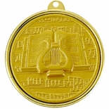 2-1/4 INCH MUSIC LYRE MEDAL, MULTIPLE COLORS