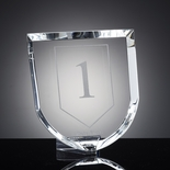 7-1/8 X 6-1/2 INCH OPTICAL CUT CRYSTAL SHIELD AWARD