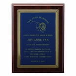 9 X 12 INCH PLAQUE WITH EMBOSSED FRAME AND SCREENED PLATE  -  COLOR OPTIONS