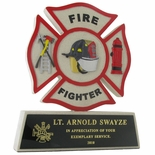 8-1/4 INCH FIRE FIGHTER MALTESE CROSS CAST STONE TROPHY, BLACK PLATE