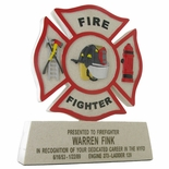 8-1/4 INCH FIRE FIGHTER MALTESE CROSS CAST STONE TROPHY, NO PLATE