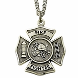 Sterling Silver Fire Fighter Medal Necklace