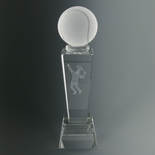 8-3/4 X 2-1/2 INCH OPTICAL CRYSTAL MALE TENNIS TROPHY WITH BALL