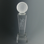 8-3/4 X 2-1/2 INCH OPTICAL CRYSTAL FEMALE TENNIS TROPHY WITH BALL