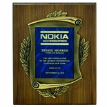 9 X 12 INCH PLAQUE WITH CAST ANTIQUE BRASS FRAME - MULTIPLE PLATE COLORS