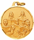 1-1/4 INCH CHOIR MALE AND FEMALE MUSIC MEDAL - MULTIPLE COLORS