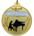 2-1/2 INCH ORCHESTRA, PIANO, GUITAR MUSIC MEDAL - MULTIPLE COLORS