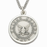 U.S. NAVY STERLING SILVER MILITARY MEDAL, 1 INCH, ST. MICHAEL BACK
