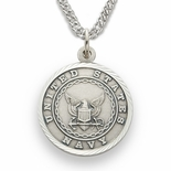 U.S. NAVY STERLING SILVER MILITARY MEDAL, 3/4 INCH, ST. MICHAEL BACK