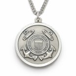 U.S. COAST GUARD STERLING SILVER MILITARY MEDAL, 1 INCH