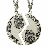 STERLING SILVER POLICE OFFICER MIZPAH MEDAL NECKLACE