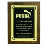 9 X 12 INCH GENUINE WALNUT PLAQUE WITH SCREENED FROSTED PLATE - COLOR OPTIONS
