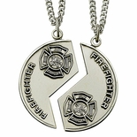 STERLING SILVER FIRE FIGHTER MIZPAH MEDAL NECKLACE