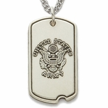 U.S. ARMY STERLING SILVER DOG TAG ST. MICHAEL ON BACK