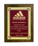 8 X 10 INCH GENUINE WALNUT PLAQUE WITH SCREENED FROSTED PLATE - COLOR OPTIONS
