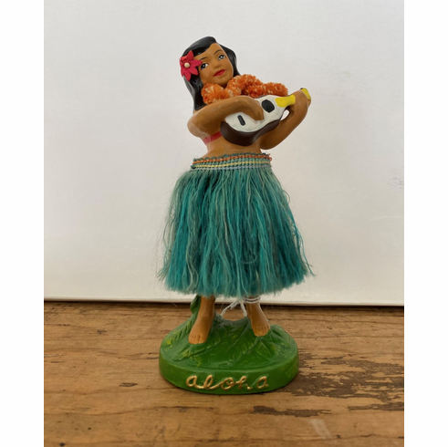 Late 1950's Hula Nodder with Green Skirt