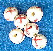 White & Red Carved Ox Bone Beads