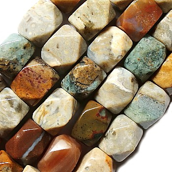 Faceted Ocean Jasper Nuggets Beads (9mm x 13mm)