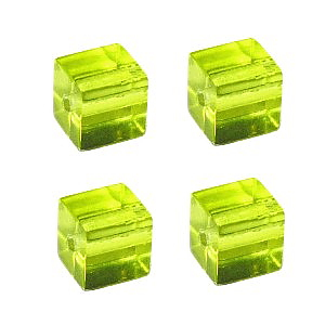 Peridot Square Cube Glass Beads (6mm)