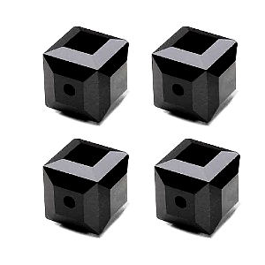 Jet Opaque Black Faceted Square Cube Glass Beads (6mm)