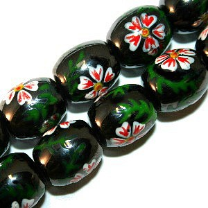 Magnetic Hematite Beads: Barrel With White & Pink Flower