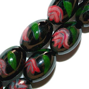 Magnetic Hematite Beads: Oval Pink Flower