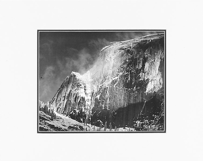 """HALF DOME, BLOWING SNOW, YOSEMITE NAT'L PARK   Large Ansel Adams Matted Reproduction (16"""" x 20"""")"""