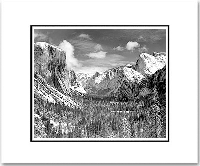 ANSEL ADAMS - YOSEMITE VALLEY, WINTER, INSPIRATION POINT - SMALL MATTED REPRO