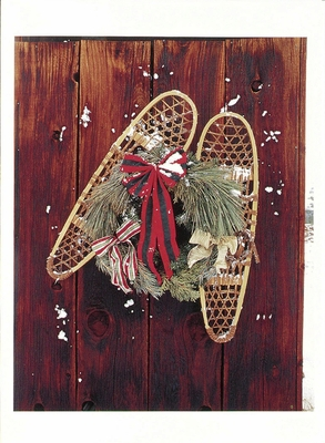 LONDIE PADELSKY - SNOW SHOES AND HOLIDAY WREATH ON BARN WALL, OWENS VALLEY, CA - HOLIDAY CARD