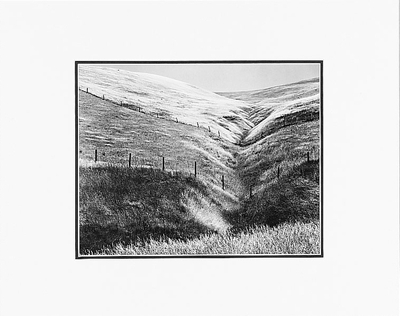 "ANSEL ADAMS - PASTURELAND, FENCE, HILLS, NEAR ALTAMONT, CALIFORNIA   Large Ansel Adams Matted Reproduction  (16"" x 20"")"